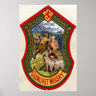 Etiqueta del whisky de Glenlivet, 1897 Póster