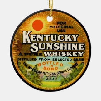 Etiqueta del whisky de Kentucky del vintage Adorno Navideño Redondo De Cerámica