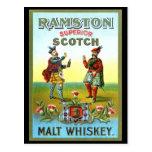 ETIQUETA del whisky escocés del vintage Postal