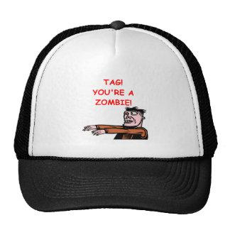 etiqueta del zombi gorras