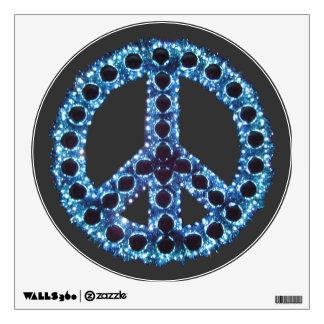 Etiqueta dentada azul de la pared de la paz