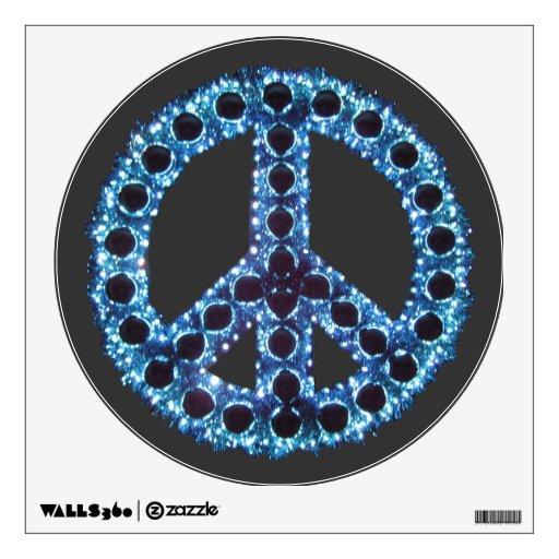 Etiqueta dentada azul de la pared de la paz vinilo decorativo