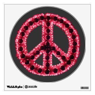 Etiqueta dentada roja de la pared de la paz