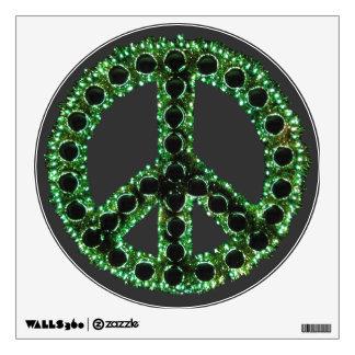 Etiqueta dentada verde de la pared de la paz