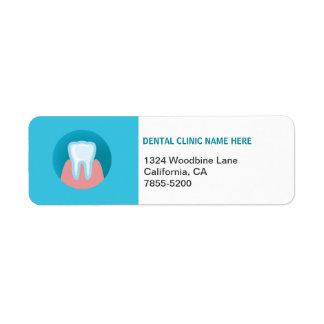 Etiqueta dental del remite de la oficina etiqueta de remite