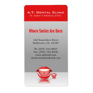 Etiqueta dental profesional del remite de la boca etiquetas de envío