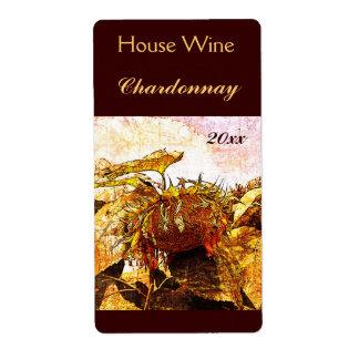 Etiqueta descolorada de la botella de vino del etiqueta de envío