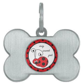 Etiqueta deshilvanada del mascota de la mariquita  placas de mascota
