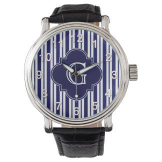 Etiqueta desigual blanca del monograma de la relojes de pulsera