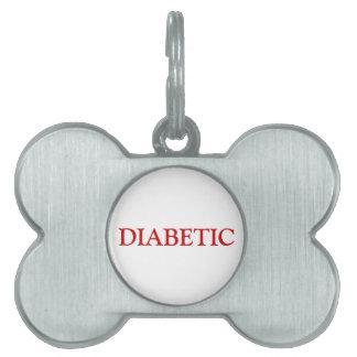 Etiqueta diabética del mascota - rojo placa de mascota