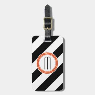 Etiqueta diagonal del equipaje del monograma de la etiqueta de equipaje