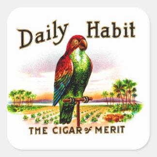 Etiqueta diaria del hábito del loro de la caja de