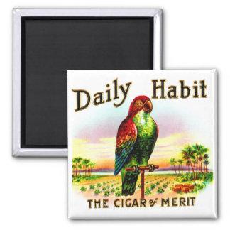 Etiqueta diaria del hábito del loro de la caja de imán cuadrado