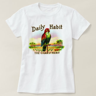 Etiqueta diaria del hábito del loro de la caja de playera