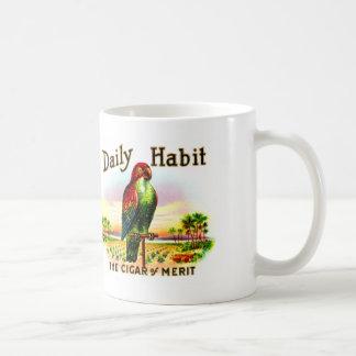 Etiqueta diaria del hábito del loro de la caja de taza de café