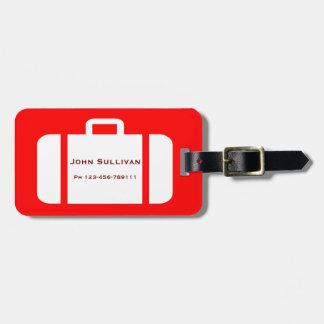 Etiqueta distintiva roja y amarilla brillante del etiquetas para maletas