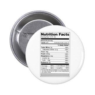 Etiqueta divertida de la nutrición del caramelo de pin redondo 5 cm