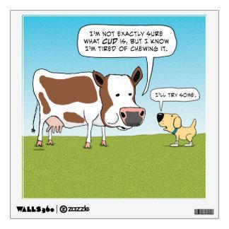 Etiqueta divertida de la pared de la vaca y del