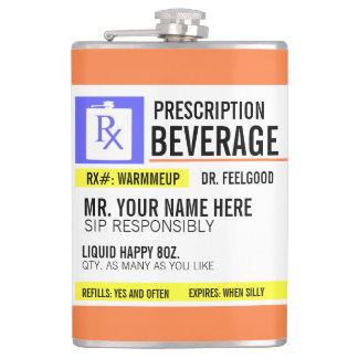 Etiqueta divertida de la prescripción 8 onzas. petaca