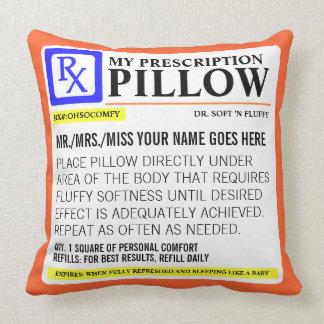 Etiqueta divertida de la prescripción almohadas