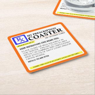 Etiqueta divertida de la prescripción posavasos personalizable cuadrado
