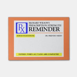 Etiqueta divertida de la prescripción post-it nota