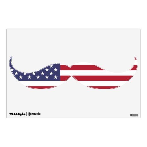 Etiqueta divertida del arte de la pared del bigote