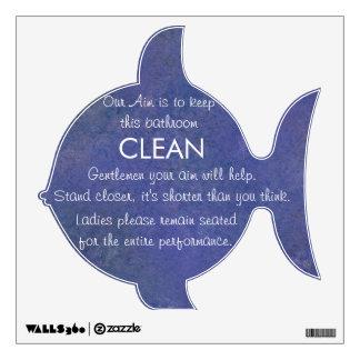 Etiqueta divertida del cuarto de baño de los pesca vinilo decorativo