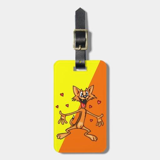 Etiqueta divertida del equipaje del gato del dibuj etiqueta para equipaje