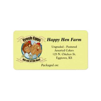 Etiqueta divertida del huevo de los pollos etiquetas de dirección