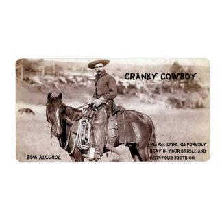 Etiqueta divertida del vino del vaquero del vintag etiquetas de envío