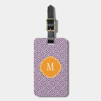 Etiqueta dominante griega púrpura y blanca del equ etiquetas para equipaje