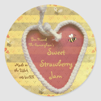 Etiqueta dulce del tarro de la mermelada de fresa