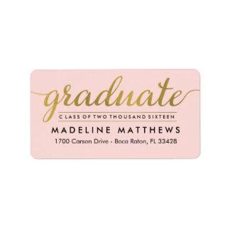 Etiqueta EDITABLE de la graduación del COLOR de la Etiquetas De Dirección