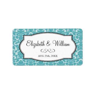 Etiqueta elegante azul del favor del boda de la fr etiquetas de dirección