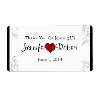 Etiqueta elegante bohemia roja blanca negra de la etiqueta de envío