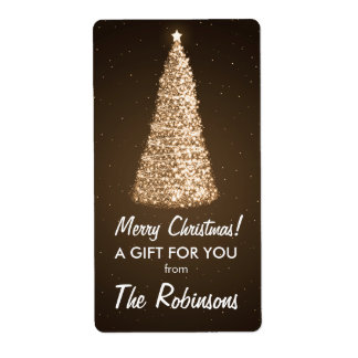 Etiqueta elegante Brown del regalo del árbol de Etiquetas De Envío
