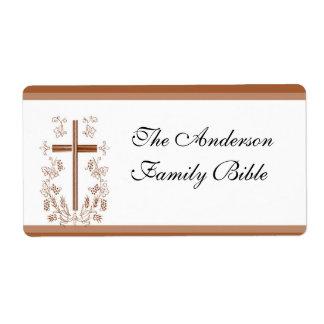Etiqueta elegante de la cruz de la biblia etiquetas de envío