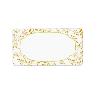 Etiqueta elegante de las hojas del oro y del etiquetas de dirección