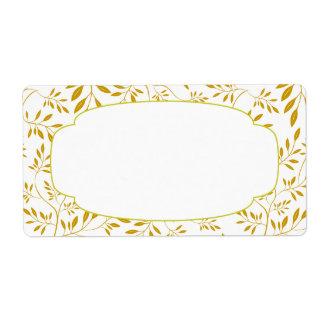 Etiqueta elegante de las hojas del oro y del blanc etiqueta de envío