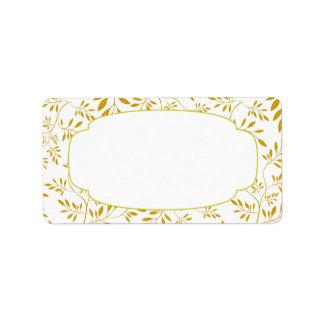 Etiqueta elegante de las hojas del oro y del blanc