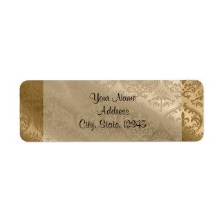 Etiqueta elegante de seda del boda del damasco del etiqueta de remitente