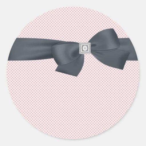 Etiqueta elegante del arco rosado del diamante