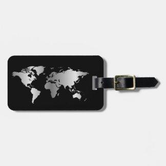 Etiqueta elegante del equipaje del mapa del mundo etiqueta para maleta