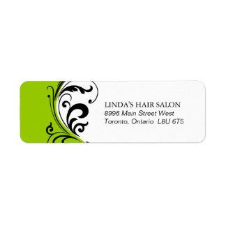 Etiqueta elegante del remite de la verde lima etiqueta de remite