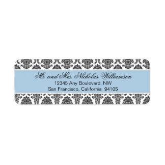 Etiqueta elegante del remite del damasco (azul) etiqueta de remite