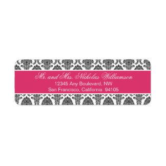 Etiqueta elegante del remite del damasco (fucsia) etiqueta de remite
