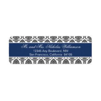 Etiqueta elegante del remite del damasco (marina d etiqueta de remitente