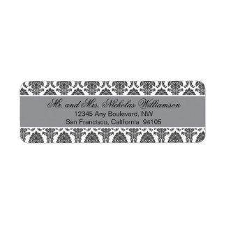 Etiqueta elegante del remite del damasco (plata) etiqueta de remitente