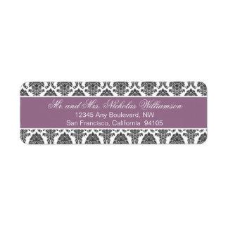 Etiqueta elegante del remite del damasco (púrpura) etiqueta de remite